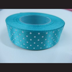Modrozelená stuha s bílými puntíky, širší