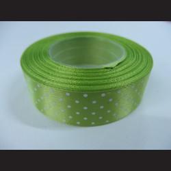 Světle zelená stuha s bílými puntíky, širší