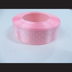 Růžová stuha s bílými puntíky, širší