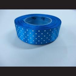 Světle modrá stuha s bílými puntíky, širší