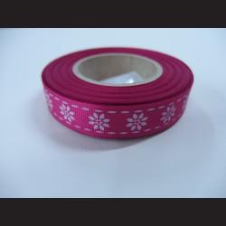 Stuha s kvítky - tmavě růžová, 15mm