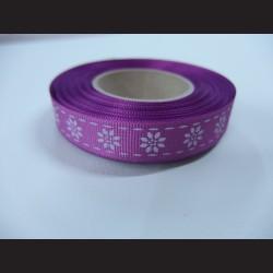 Stuha s kvítky - fialová, 15mm