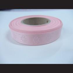 Stuha s kvítky - růžová, 15mm