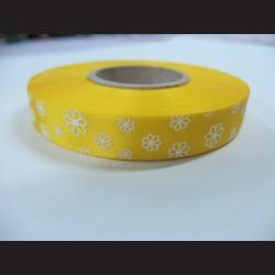 Stuha s kvítky - žlutá, 15mm