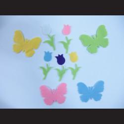 Nálepky z filcu - tulipány a motýli, 60ks