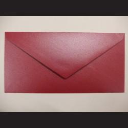 Obálka metalická červená - 22 x 11 cm, 10 ks