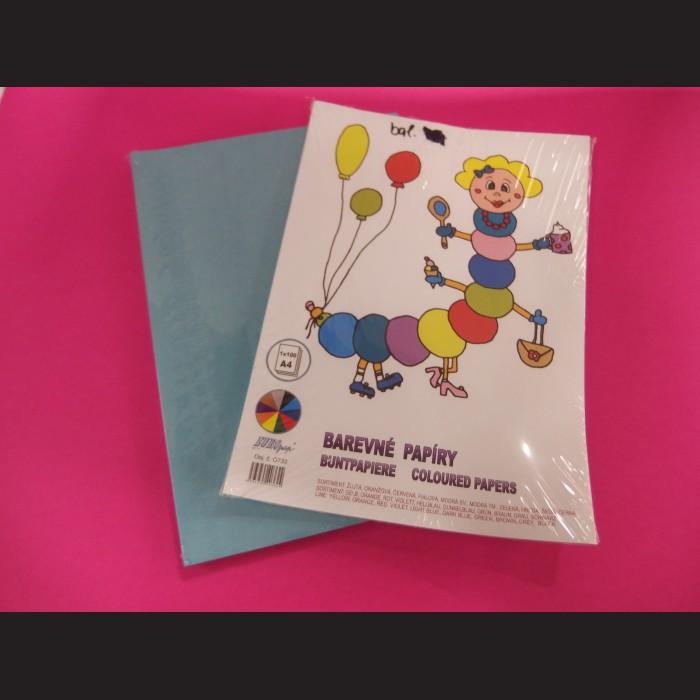 Sada barevných papírů A4 - modrá, 100 ks