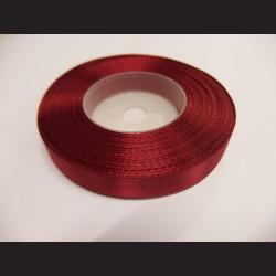 Stuha atlasová - tmavě červená, 12 mm