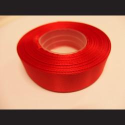 Stuha atlasová - červená, 25 mm