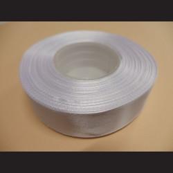 Stuha atlasová - bílá, 25 mm