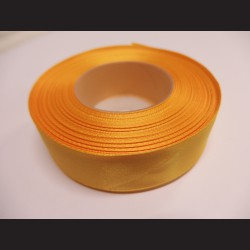 Stuha atlasová - tmavě žlutá, 25 mm
