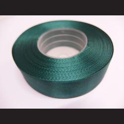 Stuha atlasová - tmavě zelená, 25 mm