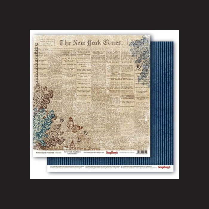 Scrapbooková sada -  Words Live Forever - New York Headlines, 30,5 x 30,5