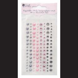 Krystaly i perly samolepící - modern chic, 120 ks