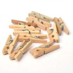 Dřevěné přírodní kolíčky - 3 cm, 100 ks
