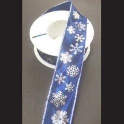 Stuha modrá 40mm, Vánoční motiv