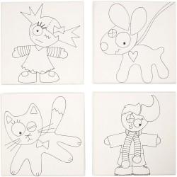 Plátno bavlněné - děti a zvířátka, sada 4 ks