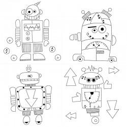 Plátno bavlněné - roboti, sada 4 ks
