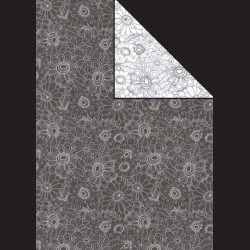 Papír A4, 300 g - květy černé / květy bílé