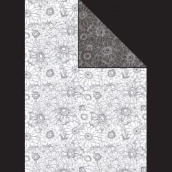 Papír A4, 300 g - květy bílé / květy černé