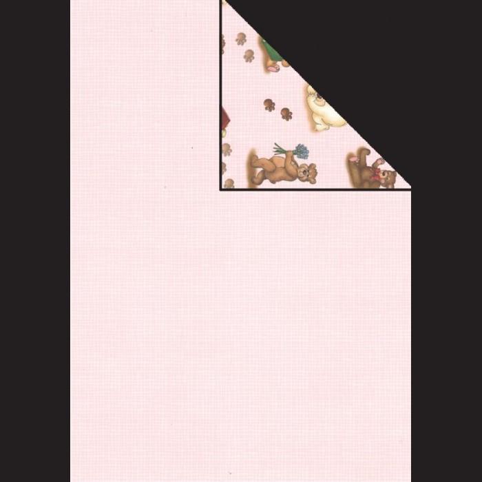 Papír A4, 300 g - růžová / medvídci
