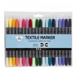 Oboustranné fixy na textil - pastelové, 20 ks