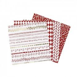 Sada origami papírů - červeno-bílé, 15 x 15 cm, 40 ks