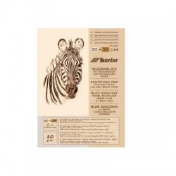 Světle krémový a hnědý skicák, 50+50 x A4, 80 g