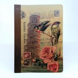 Tečkovaný sešit na kaligrafii, A5 - Šikmá věž a ptáci