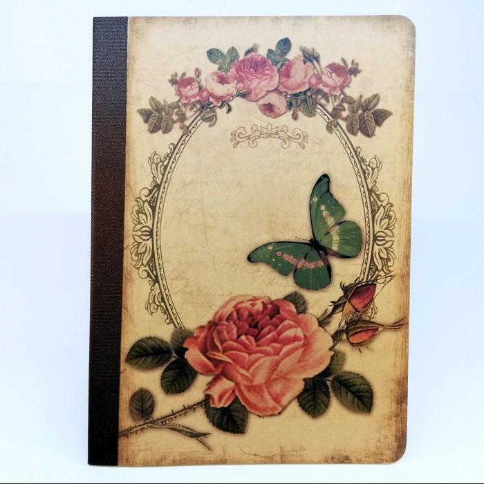 Tečkovaný sešit na kaligrafii, A5 - růže a motýl
