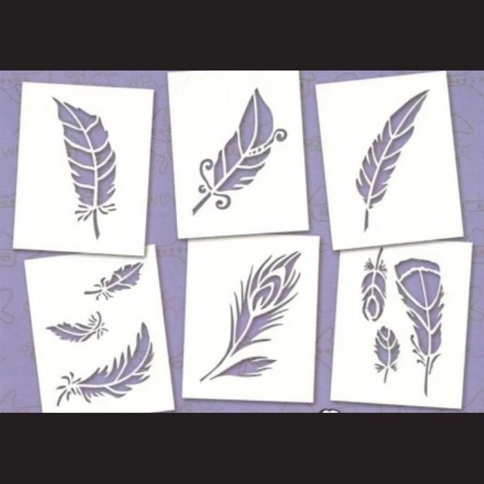Papírové šablony - PEŘÍ, 6 ks