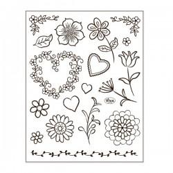 Silikonová razítka - květiny, listy, srdce