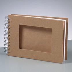 Scrapbookové album s výřezem,  přírodní - 21 x 15 cm