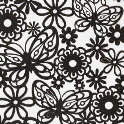 Papírové výřezy, černé - květiny a motýli