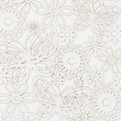 Papírové výřezy, bílé - květiny a motýli