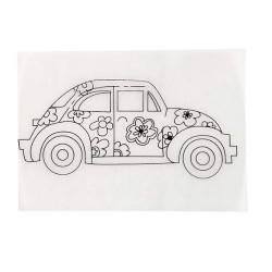 Smršťovací obrázek - auto s kytkami