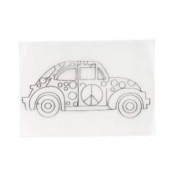 Smršťovací obrázek - auto s puntíky