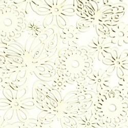 Papírové výřezy, krémově bílé - květiny a motýli