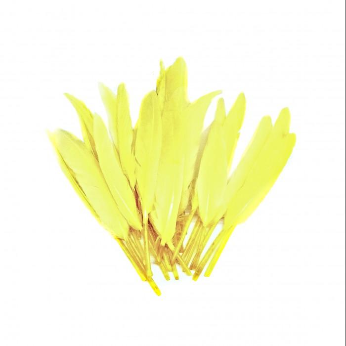 Dekorativní peří, krátké - žluté, 24 ks