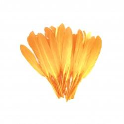 Dekorativní peří, krátké - oranžové, 24 ks