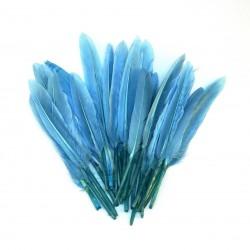 Dekorativní peří, krátké - modré, 24 ks