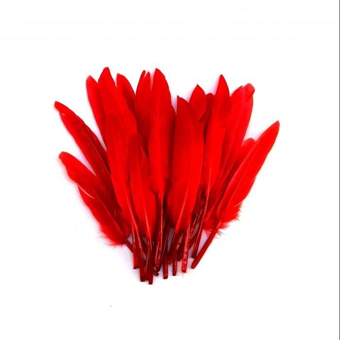 Dekorativní peří, krátké - červené, 24 ks