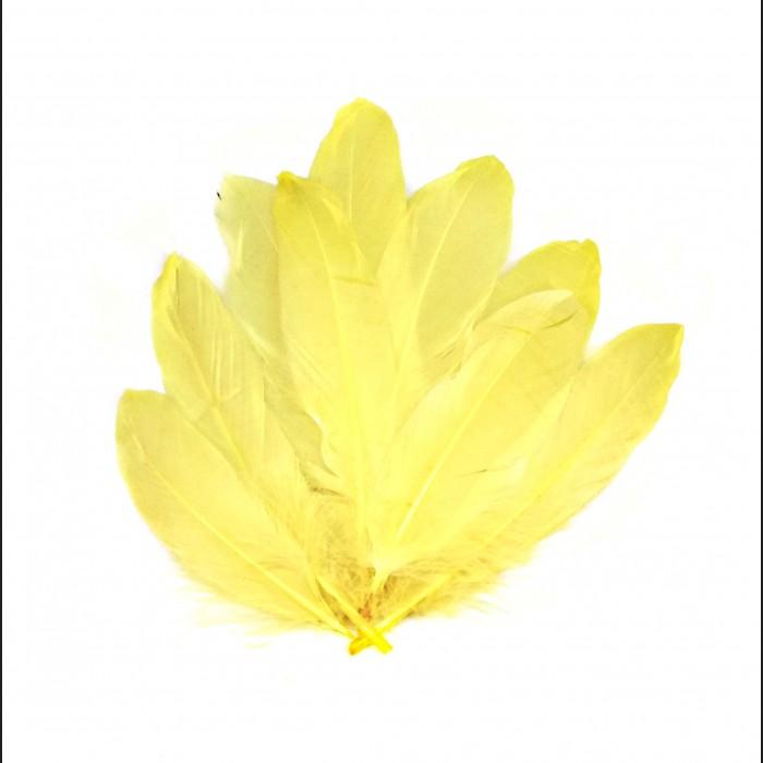 Dekorativní peří, dlouhé - žluté, 12 ks