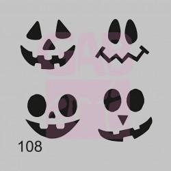 Plastová šablona - dýňové obličeje, 108