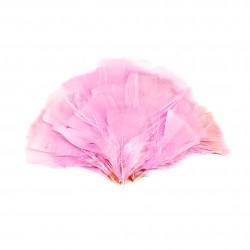 Dekorativní peří, vějíř - růžové, 48 ks