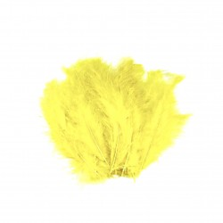 Dekorativní peří, jemné - žluté, 24 ks