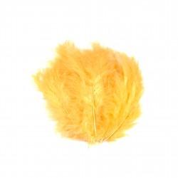 Dekorativní peří, jemné - oranžové, 24 ks