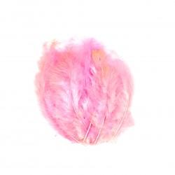 Dekorativní peří, jemné - růžové, 24 ks