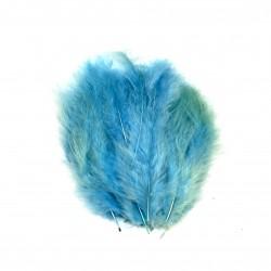 Dekorativní peří, jemné - modré, 24 ks