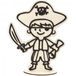 Dřevěná figurka k dotvoření - pirát s kloboukem